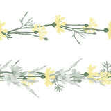 Seamless patterns ornaments of grass spikelets and cornflowers, vector illustration. - 222216226