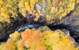 Aerial drone view of Devil's Mill canyon at autumn