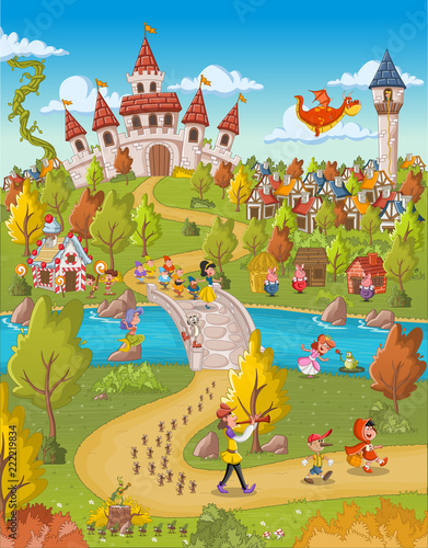 Magic world with fairy tale characters.  - 222219834