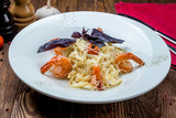 Pasta fettuccine with shrimps
