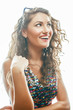 young pretty woman with curly hair style posing emotional on whi - 222223201