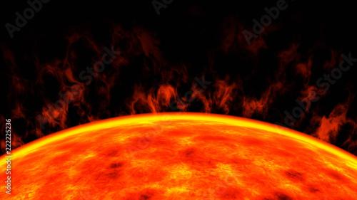 red dwarf star sun closeup, 3d render