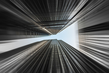 Downtown Skyscrapers with a motion blur effect