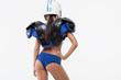 Lady in American football uniform