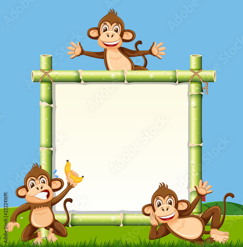 Fototapeta Monkey on the bamboo board