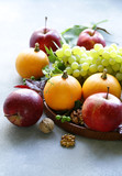 autumn still life with fruits and pumpkins - 222248269