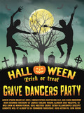 a halloween silhouette grave dancers party poster