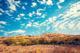 Mountain landscape with blue sky. Golan heights, Israel