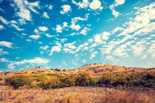 Fototapeta Mountain landscape with blue sky. Golan heights, Israel