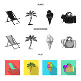 Beach, palm tree, ice cream.Summer vacation set collection icons in black, flat, monochrome style vector symbol stock illustration web. - 222253243