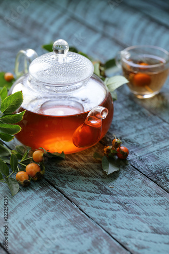 Fototapeta organic berries rosehip tea for health
