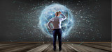Man holding Connection around a world globe isolated 3d rendering