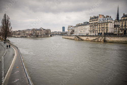 View of Seine river in Paris, France on a cloudy day