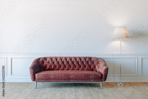 3d render of beautiful interior with sofa and wooden floor - 222257015