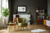 Green armchair standing in real photo of living room interior with retro cupboards, fresh plants, white rug and end table with tea set - 222257692