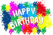 Happy birthday lettering, colorful confetti and ribbon blue. Happy Birthday calligraphy vector design for greeting cards and banner  and