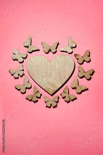 Heart in a frame of butterflies, Design for a postcard, St. Valentine's Day - 222262248