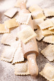 cooking ravioli and rolling pin