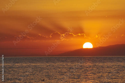 Poster sunset on the Issyk-Kul lake