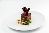 piece of chocolate cake with cherry and mint on a white plate - 222274471