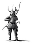 Japanese samourai with sword and bow - 222275678