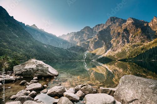 Leinwanddruck Bild Tatra National Park, Poland. Small Mountains Lake Zabie Oko Or M