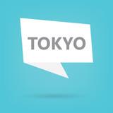 Tokyo word on a speech bubble- vector illustration