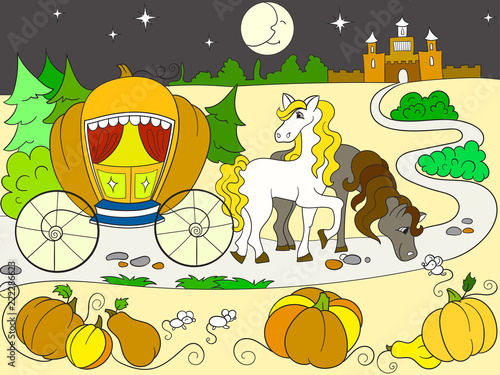Cinderella fairy tale color book for children cartoon raster