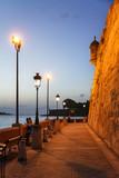 Promenade at the outer wall of old San Juan, Puerto Rico, at dusk