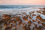 Mediterranean Sea red rocky coast. Cyprus