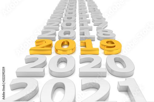Leinwanddruck Bild Zeitstrahl - Silvester, Sylvester, Neujahr 2019 in Gold