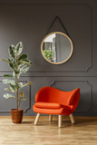 Big ficus plant, a vibrant orange armchair and a round mirror in a gray living room interior with place for a floor lamp. Real photo. - 222300044