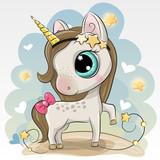 Cute Unicorn on a Blue background - 222302202