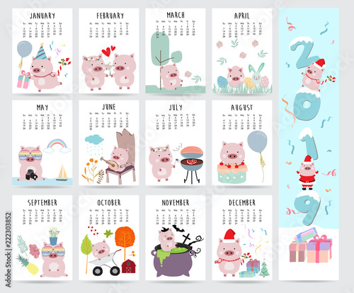 Cute Monthly Calendar 2019 With Pig Cake Barbecue Glasses Heart