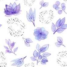 Seamless Pattern Of Watercolor Flowers Leaves And  Shapes Sticker