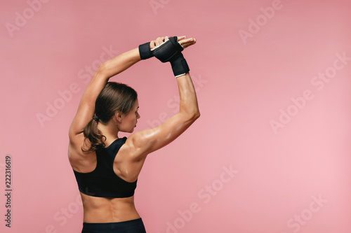 Stretch. Sport Woman Stretching Before Training - 222316619