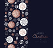 Merry Christmas copper snowflake pattern card