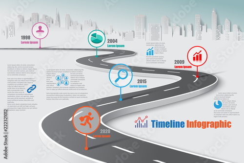 Business road map timeline infographic city designed for abstract background template milestone element modern diagram process technology digital marketing data presentation chart Vector illustration - 222321012