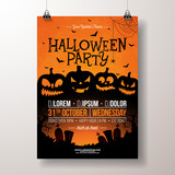 Halloween Party flyer vector illustration with scary faced pumpkins on orange background. Holiday design template with cemetery and flying bats for party invitation, greeting card, banner or