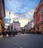 Looking  on Coventry Street towards the Piccadilly Circus by evening, London, England, United Kingdom. - 222336223