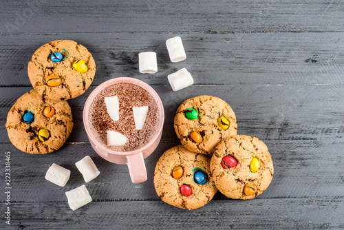 Sticker Sweet cookies with colored candies and cup of cofee