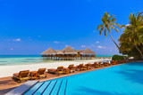 Pool and cafe on Maldives beach - 222341044