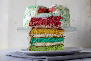 colorful rainbow cake dessert with colored layers