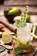 Caipirinha cocktail on wooden table