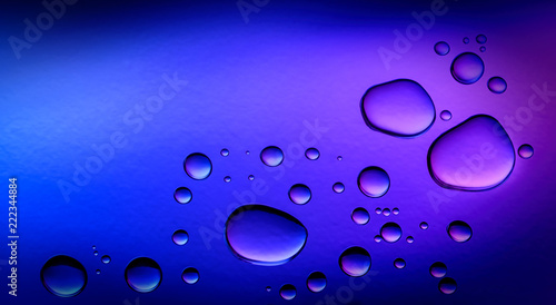 Leinwanddruck Bild Blue purple Abstract Background with Water Drops