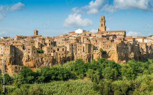 Panoramic sight of Pitigliano in a sunny summer afternoon. Province of Grosseto, Tuscany, Italy.