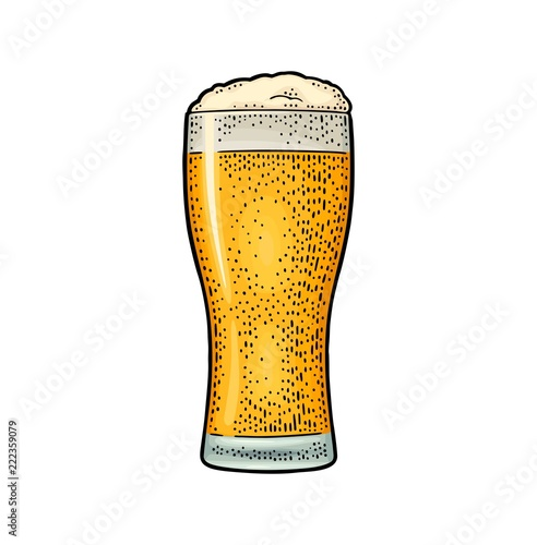 Glass beer. Vector engraving color vintage illustration isolated on white