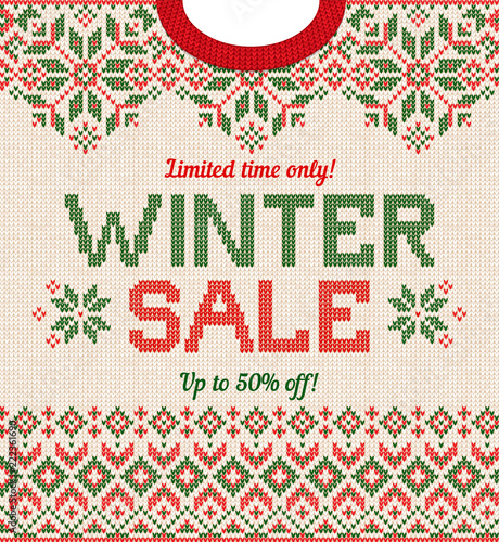 9666d5c3118b Ugly sweater Season Winter Sale Poster. Knitted background pattern ...