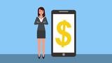 businesswoman with smartphone dollar money symbol - 222365890