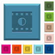 Movie contrast engraved icons on edged square buttons